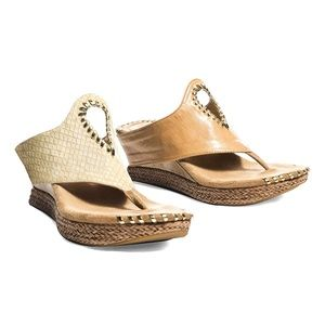 Beige & Cream Snake Embossed Reversible Sandals